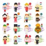 Vektorillustration av 16 tecknad filmtecken som säger hälsningar och välkomnande i olika språk Royaltyfri Fotografi