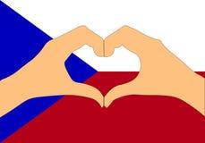 Vektorillustration av Tjeckienflaggan och händer som gör en hjärta att forma Fotografering för Bildbyråer
