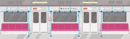 Vektorillustration av tomt av den moderna gångtunnelinre Stadskollektivtrafikbegrepp, underjordisk spårvagn som är inre med royaltyfri illustrationer