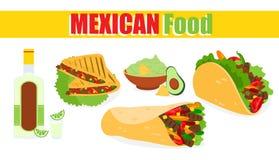 Vektorillustration av traditionell mexicansk mat, etikett på vit bakgrund Mexicansk etnisk kokkonst, taco, guacamole stock illustrationer