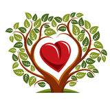 Vektorillustration av trädet med filialer i formen av hjärta Royaltyfria Bilder