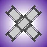 Vektorillustration av två criss-kors fragment av filmen på en violett bakgrund Plan design Royaltyfri Foto