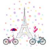 Vektorillustration av två cyklar, Eiffeltorn, konfetti royaltyfri illustrationer
