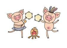 Vektorillustration av två lilla svin som spelar tamburines Arkivfoton