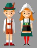 Vektorillustration av tyska barn, pojke, flicka, folk