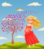 Vektorillustration av ung härlig gravid blond wom royaltyfri illustrationer