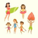 Vektorillustration av ungar Arkivfoto
