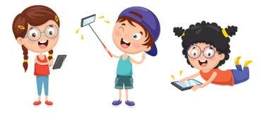 Vektorillustration av ungar som använder mobila enheter royaltyfri illustrationer