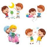 Vektorillustration av ungar som har gyckel stock illustrationer