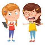 Vektorillustration av ungar som slåss för Smartphone stock illustrationer
