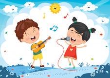 Vektorillustration av ungar som spelar musik och att sjunga Arkivbilder