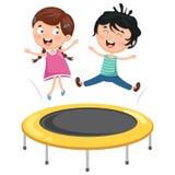 Vektorillustration av ungar som spelar trampolinen royaltyfri illustrationer