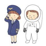 Vektorillustration av ungeyrken, flygbolagpiloten & astronautet När väx upp, vad jag önskar att ska vara Barnockupationdräkt Arkivbild