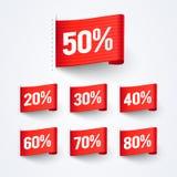 Vektorillustration 50% av uppsättning för flagga för försäljningsrabattetikett vektor illustrationer