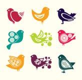Uppsättning av symboler för tecknad filmklotterfåglar Arkivbild