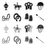 Vektorillustration av utrustning och ridasymbolen Samling av utrustning- och konkurrensmaterielsymbolet f?r reng?ringsduk royaltyfri illustrationer