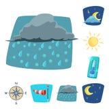 Vektorillustration av väder- och klimatsymbolen Uppsättning av väder- och molnmaterielsymbolet för rengöringsduk stock illustrationer
