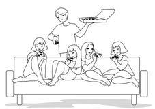 Vektorillustration av vänner på coutch i plan design vektor illustrationer