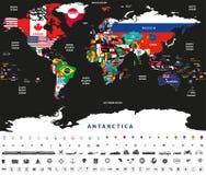 Vektorillustration av världskartan som fogas ihop med nationsflaggor med lands- och havnamn Arkivbild
