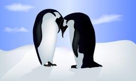 Vektorillustration av valentin kort med två pingvin vektor illustrationer