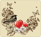Vektorillustration av valentindagen med en fågel Fotografering för Bildbyråer