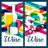 Vektorillustration av vinflaskan, exponeringsglas, filialen av druvan och c Arkivfoto