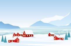 Vektorillustration av vinterlandskapet med röda hus på den djupfrysta sjösidan, snöberg på bakgrunden archy stock illustrationer
