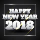 Vektorillustration av vittext för lyckligt nytt år 2018 med svart bakgrund royaltyfri illustrationer