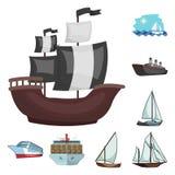 Vektorillustration av yacht- och skepplogoen Samling av yacht- och kryssningvektorsymbolen för materiel vektor illustrationer