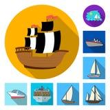 Vektorillustration av yacht- och skepplogoen Ställ in av yacht- och kryssningmaterielsymbolet för rengöringsduk royaltyfri illustrationer