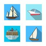 Vektorillustration av yacht- och skeppsymbolet Samling av yacht- och kryssningmaterielsymbolet för rengöringsduk royaltyfri illustrationer