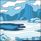 Vektorillustration, bakgrund (Antarktis) Royaltyfri Fotografi