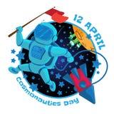 Vektorillustration bis 12 April Cosmonautics Day Ein Astronaut oder ein Kosmonaut mit einer roten Fahne im Weltraum und im Fliege Lizenzfreie Stockfotografie