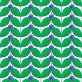 Vektorillustration, blått skogsommarbär med gröna sidor Royaltyfria Bilder