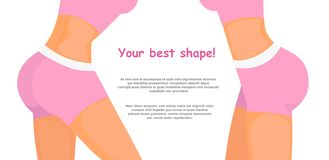 Vektorillustration bodysculpt Konzept mit Platz für Text Eignungsmädchenkörper in der rosa Sportkleidung, sportlicher Kolben der  lizenzfreie abbildung