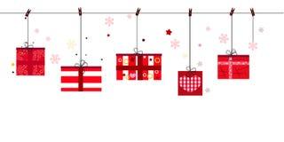Vektorillustration boxex Geschenk des guten Rutsch ins Neue Jahr hängende Grußkarte der frohen Weihnachten Stockbild