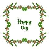Vektorillustration dekorativ vom glücklichen Tag der Karte mit Schönheit von Blatt bouqet Rahmen stock abbildung