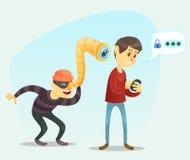 Vektorillustration - den roliga tecknad filmkomiker maskerade mantjuven som spionerar data från smartphonen av den vuxna mangrabb Arkivfoto