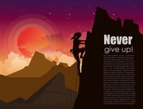 Vektorillustration der Bergsteigenfrau auf den Bergen schaukeln auf Sonnenunterganghimmel mit Sternen und bewölken Hintergrund he lizenzfreie abbildung