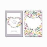 Vektorillustration der Blumenkranz-Einladungsschablone mit Unterzeichnung Stockbilder