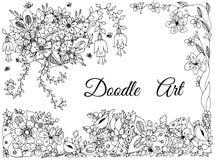 Vektorillustration der Blumenrahmenzenverwicklung, kritzelnd Stockbild