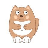 Vektorillustration der braunen lustigen fetthaltigen Katze Lizenzfreies Stockbild