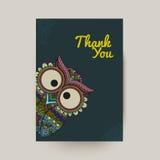 Vektorillustration der dekorativen Eule Vogel veranschaulicht in Stammes- Lizenzfreies Stockfoto