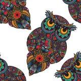 Vektorillustration der Eule Vogel veranschaulicht in Stammes- Eule mit Blumen auf hellem Hintergrund Geformte und dekorative Eule Stockfotos