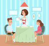 Vektorillustration der Familienmahlzeit Mutter gießt Suppe Tellern in den Kind s, Sohn und Tochter sitzen zusammen am Tisch lizenzfreie abbildung