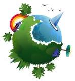 Vektorillustration der flachen Designreisezusammensetzung mit grünem Planeten Lizenzfreies Stockfoto