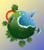 Vektorillustration der flachen Designreisezusammensetzung mit grünem Planeten Verschiedene Landschaft, Küste, Aufstieg und Sonnen Stockfotografie