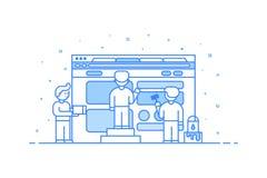 Vektorillustration in der flachen Entwurfsart Grafikdesignkonzept des Netzes und der Benutzerschnittstellenentwicklung Lizenzfreie Stockfotos