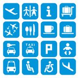 Flughafenikonen - Piktogrammsatz Lizenzfreies Stockbild