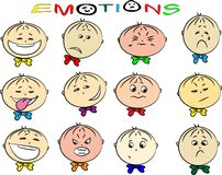 Vektorillustration der Gefühle der Kinder Stockbild
